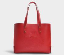 Kleine Shopper mit Crest Geprägt aus rotem Kalbsleder