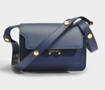 Mini Trunk Tasche aus dunkelblauem mattem Kalbsleder
