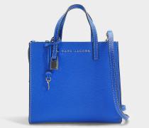 Handtasche The Mini Grind aus blauem Kalbsleder