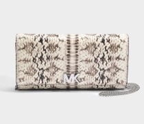 Mott Large East-West Clutch aus Natural geprägtem Schlangenmuster