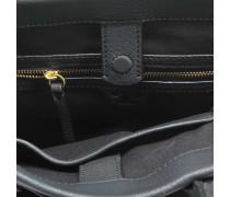 GeMini Link Small Tote Bag aus schwarzem Kalbsleder