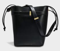 Twin Bucket Tasche aus schwarzem Kalbsleder