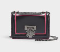 Handtasche mit Taschenklappe Bbox 20 aus pinkem und schwarzem Kalbsleder