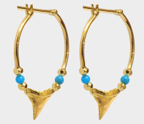 Fine Jewellery Ohrringe - 18K Gold Shark Teeth mit Türkis & Perlen aus Gelbgold