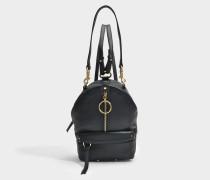 See by Chloé Mino Mini Backpack aus schwarz gekörntem Kuhleder