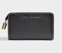Portemonnaie Compact aus schwarzem Kalbsleder