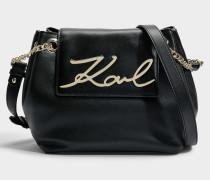 K/Signature Small DrawstRing Tasche aus schwarzem glattem Kalbsleder