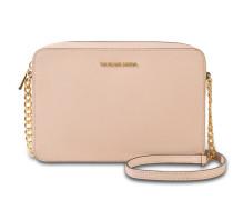 Large EW Crossbody Tasche aus Soft rosanem Saffiano Leder