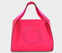 Alter Nappaleder Fluo Tote Stella Logo Tasche aus Neon rosaner Baumwolle und Öko Leder