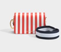 Jude Crossbody Tasche aus rotem und weißem Kalbsleder