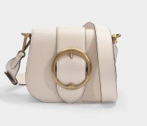 Tasche Crossbody Lennox Medium aus genarbtem, vanillegelbem Leder