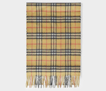 Vintage Check Cashmere Scarf in Antique Yellow Cashmere