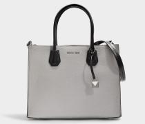 Mercer Large Convertible Tote Tasche aus Perl grauem, Optic weißem und schwarzem gekörntem Leder