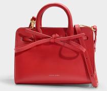 Handtasche Mini Mini Sun aus Kalbsleder und Stoff in Rot