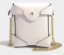 Micro Handtasche Pristine mit Kettenriemen aus pflanzlichem Kalbsleder in Weiß