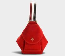 Micro Handtasche Fernweh aus Samt und rotem pflanzlich gegerbtem Kalbsleder, in Weiß und Schwarz