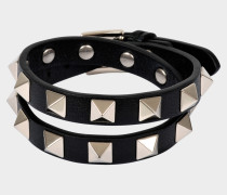 Rockstud Double Rows Armband Or Choker Halskette aus schwarzem Kalbsleder