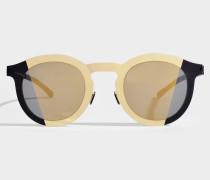 Mykita Studio 2.2 Sonnenbrille aus goldfarbenem und schwarzem Metall