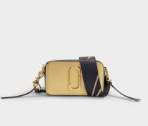 Tasche Snapshot aus Leder mit goldener Polyurethanbeschichtung