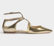Flache Sandalen Lancer aus vergoldetem Leder
