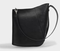 Hook M Asymmetrical Bucket Bag in Black Embossed Calfskin