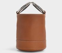 Handtasche mit Schulterriemen Bonsai 15 cm aus braunem Kalbsleder