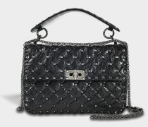 Rockstud Spike Medium Shoulder Bag aus schwarzem und Ruthenium Split Lammleder