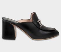 Double T Mule Schuhe aus schwarzem Kalbsleder