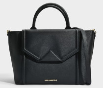 K/Klassik Flap Tote Bag aus schwarzem Saffiano
