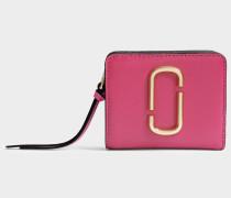 Snapshot Mini Compact Geldbörse aus Hibiscus Split Kuhleder