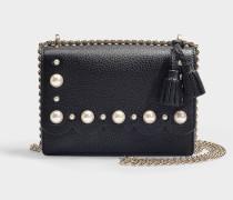 Tasche Crossbody Hazel Hayes Street Pearl aus schwarzem, genarbtem Leder