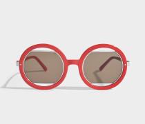 Show Round Sonnenbrille aus coralfarbenem Acetat und Metall
