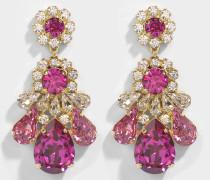 DS Fushia Ohrringe aus rosanem Messing und Swarowskisteinen