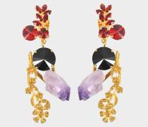 Ohrringe mit Amethyst und Kristallen
