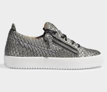 Sneaker aus Leder mit Schlangenprägung in Anthrazit