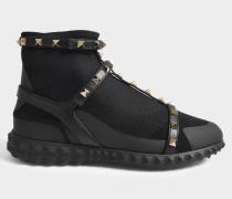 Rockstud Bodytech Hightop Sneaker aus schwarzem Nylon