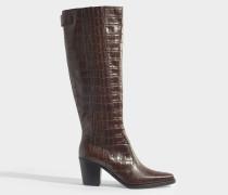 Cowboy Boots in braunem kroko-geprägtem Kalbsleder