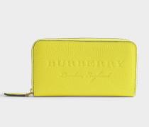 Zip Around Geldbörse aus gelbem Kalbsleder