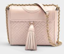 Handtasche mit Schulterriemen Fleming Box aus rosa Lammleder