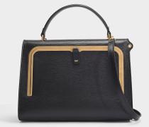 Postbox-Tasche aus schwarzem genarbten Leder mit Pythondruck-Riemen