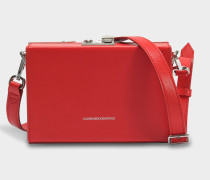 Mini Box Shoulder Bag aus rotem Kalbsleder