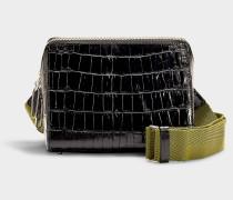 Handtasche mit Schulterriemen Ray Triangle aus schwarzem Kalbsleder