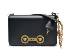 Tribute Icon Medium Shoulder Bag aus schwarzem Kalbsleder