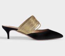 Mules New Rendez-Vous 45 aus schwarzem und goldenem Wildleder