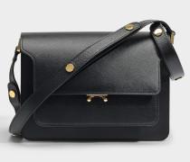 Medium Trunk Tasche aus schwarzem Saffiano Leder