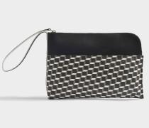 Beuteltasche Tasche mit Hand Strap aus schwarzem und weißem Cube Canvas und Kalbsleder