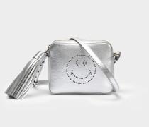 Smiley Crossbody Tasche aus Silberoptik Capra Leder