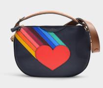 Umhängetasche Rainbow Heart aus marineblauem Kalbsleder