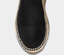 Dylan Espadrille Booties aus schwarzem und weißem Polyester und Spandex