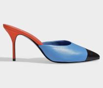 Kelly Pointed Mule Schuhe aus schwarzem, blauem und rotem Kitzleder